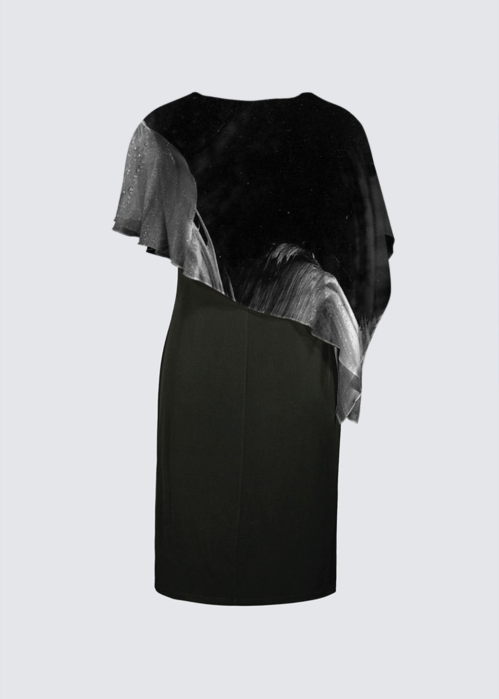 Picture of Untitled Black and White Joni Cape Dress