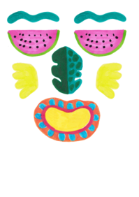 Picture of drawn fruit face